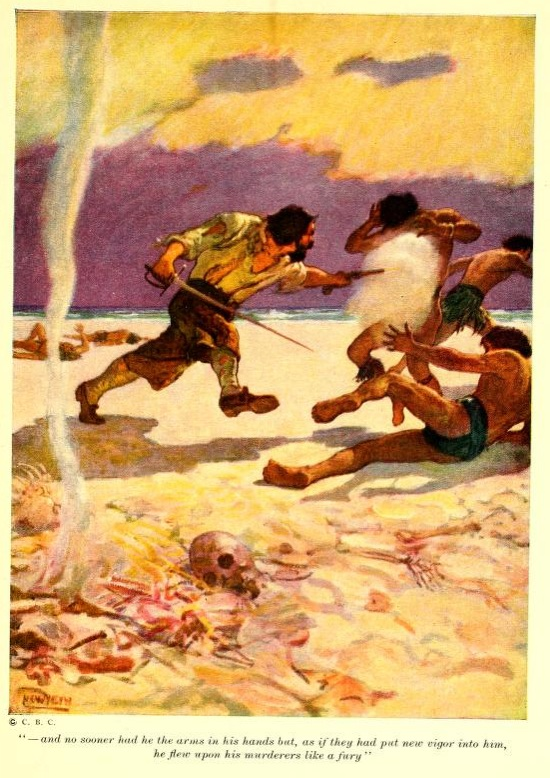 An illustration for the story Robinson Crusoe - no sooner had he the arms in his  hands, but, as if they had put new vigour into him, he flew upon  his murderers like a fury