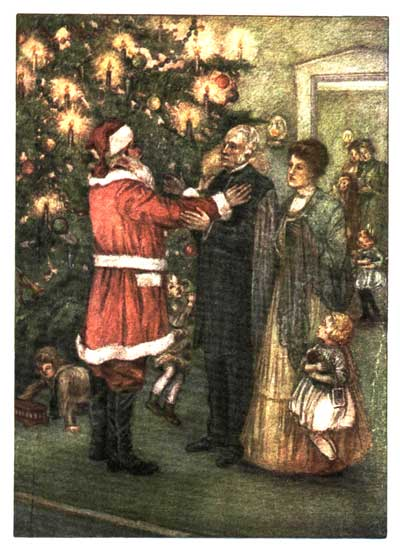 An illustration for The Romance of a Christmas Card by Kate Douglas Wiggin