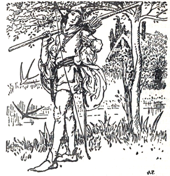 An illustration for The Merry Adventures of Robin Hood by Howard Pyle