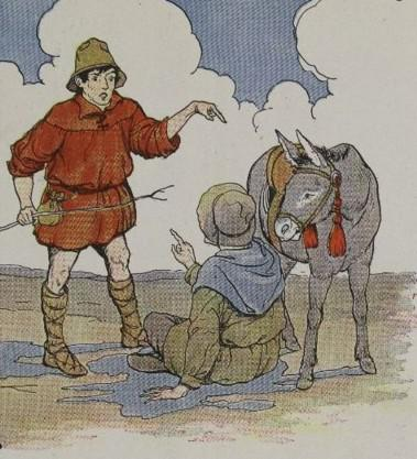 An illustration for the story The Ass And Its Shadow by the author Aesop