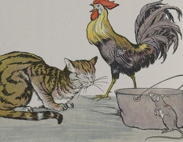An illustration for the story The Cat The Cock And The Young Mouse by the author Aesop