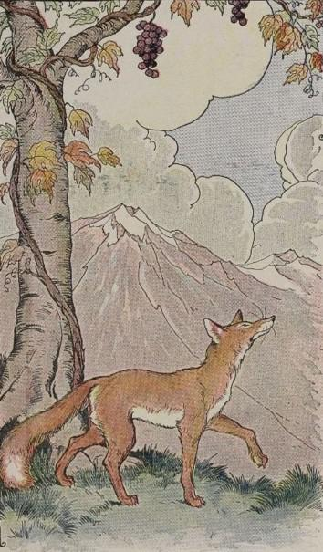 An illustration for the story The Fox And The Grapes by the author Aesop