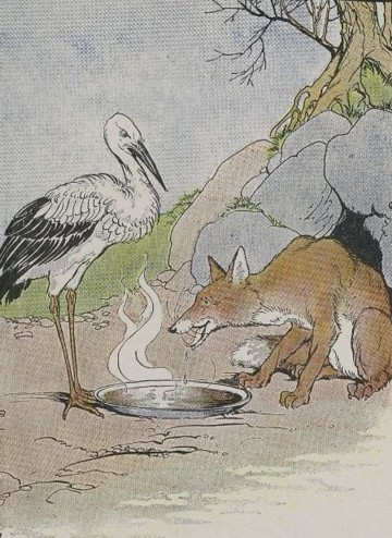An illustration for the story The Fox And The Stork by the author Aesop