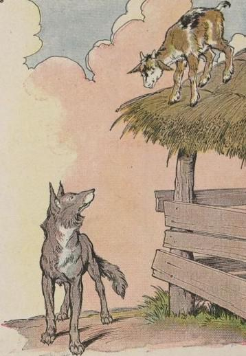 An illustration for the story The Kid And The Wolf by the author Aesop