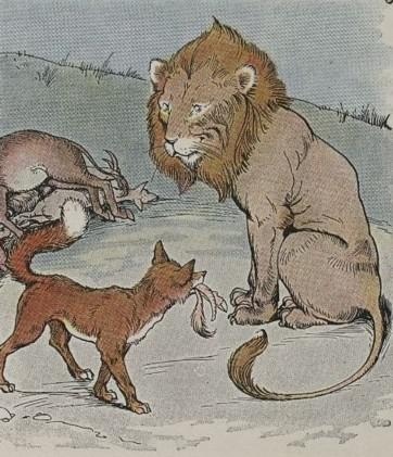 An illustration for the story The Lion The Ass And The Fox by the author Aesop