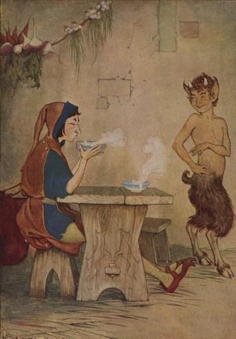 An illustration for the story The Man And The Satyr by the author Aesop