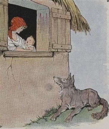 An illustration for the story The Mother And The Wolf by the author Aesop