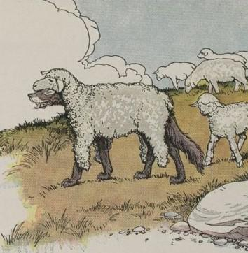 An illustration for the story The Wolf In Sheeps Clothing by the author Aesop