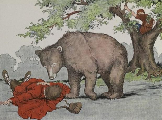 An illustration for the story Two Travelers And A Bear by the author Aesop