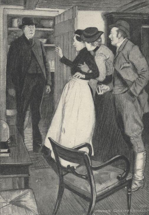 An illustration for the story Cupboard Love by the author W. W. Jacobs