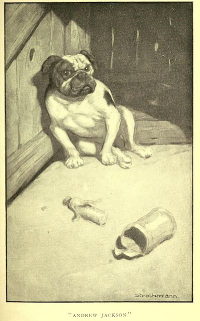 And he had a little small bull-pup.  An illustration for the great short story The Celebrated Jumping Frog of Calaveras County by the author Mark Twain