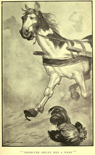 Thish-yer Smiley had a mare. An illustration for the great short story The Celebrated Jumping Frog of Calaveras County by the author Mark Twain