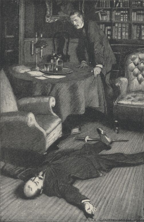 An illustration for the story In the Library by the author W. W. Jacobs