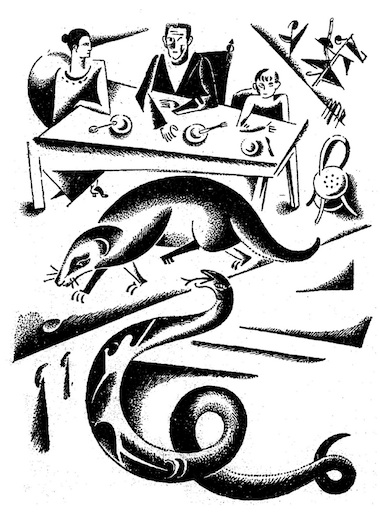 An illustration for the story Rikki-Tikki-Tavi by the author Rudyard Kipling