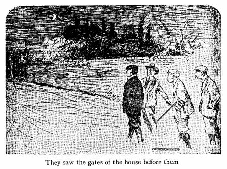 They saw the gates of the house before them. An illustration for the short story The Toll-House by W.W. Jacobs