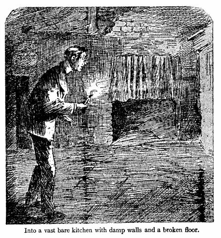 into a vast bare kitchen with damp walls and a broken floor. An illustration for the short story The Toll-House by W.W. Jacobs