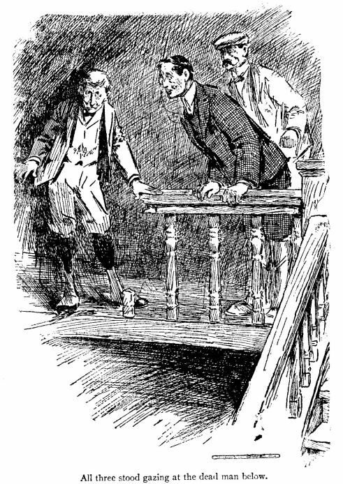 The others drew near, and all three stood gazing at the dead man below. An illustration for the short story The Toll-House by W.W. Jacobs