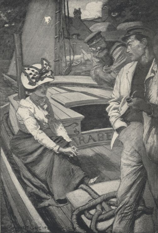 An illustration for the story The Lady of the Barge by the author W. W. Jacobs